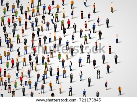 Large group of people on white background.