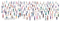 Large group of people on white background. Group of man and woman cartoon characters. Flat colorful vector illustration.