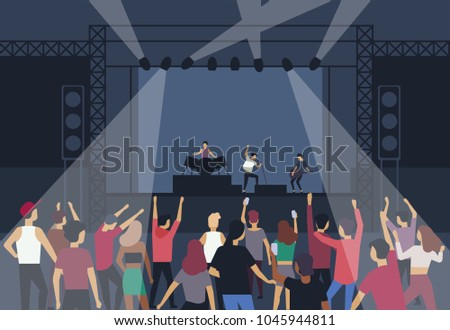 large group of people or music