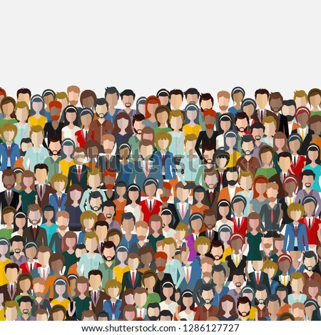 Large group of people. Seamless background. Business people, teamwork concept. Flat vector illustration Foto d'archivio ©