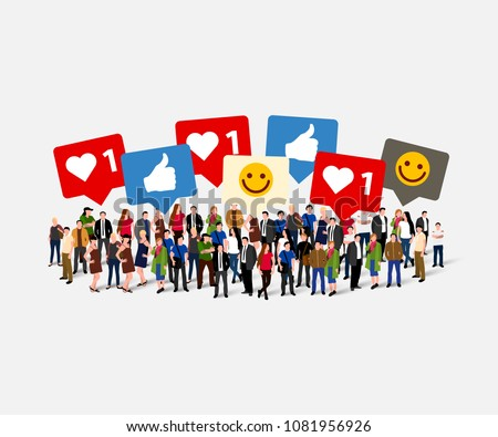 Large group of people with like, thumb, heart, signs. Social network concept. Vector illustration. #1081956926