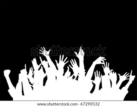 Large group of raising hands