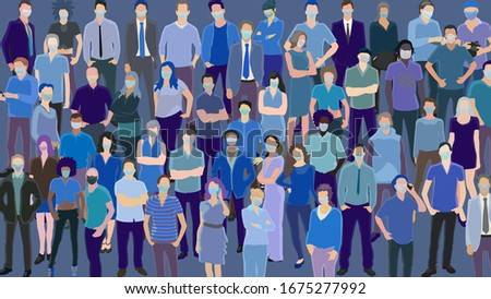 Large group of usual people wearing health masks, epidemy modern style illustration