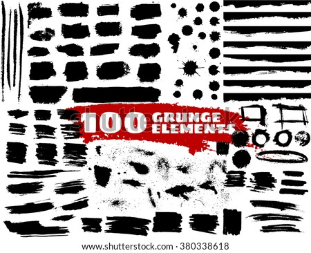Large grunge elements set. Brush strokes, banners, borders, splashes, splatters.... Vector illustration