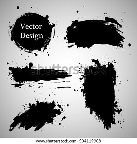 Large grunge elements set. Brush strokes, banners, borders, splashes splatters. Vector illustration