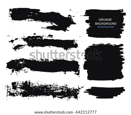 Large grunge elements set. Brush strokes, banners, borders, splashes splatters. Vector illustration. #642112777