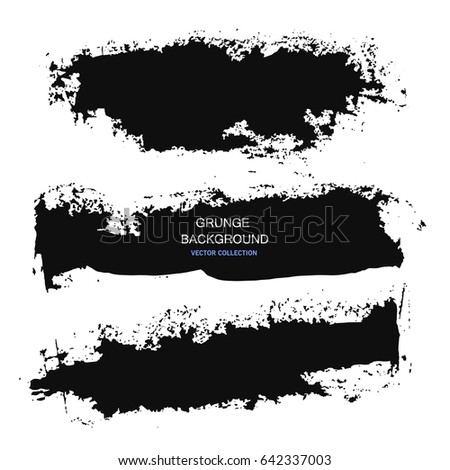 Large grunge elements set. Brush strokes, banners, borders, splashes splatters. Vector illustration #642337003