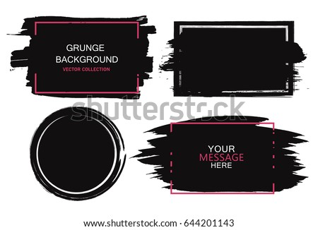 Large grunge elements set. Brush strokes, banners, borders, splashes splatters Vector illustration