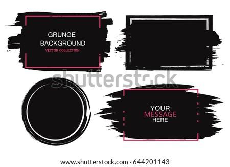 Large grunge elements set. Brush strokes, banners, borders, splashes splatters Vector illustration