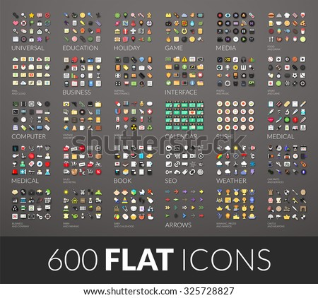 large icons set  600 vector