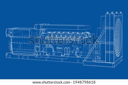 Large industrial diesel generator. Generator, diesel engine and cooling radiator. Vector rendering of 3d. Wire-frame style Photo stock ©