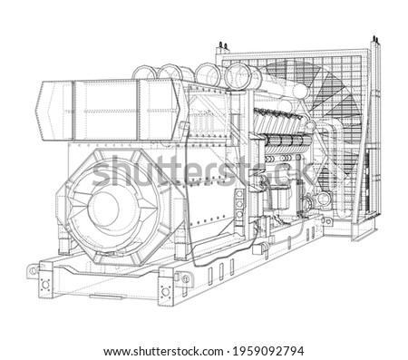 Large industrial diesel generator. Generator, diesel engine and cooling radiator. Vector rendering of 3d. Wire-frame style Stock photo ©