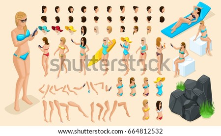 Large isometric Set of gestures of hands and feet 3d girl. Create your character vacationing tourist, a girl in a swimsuit for summer vector illustrations