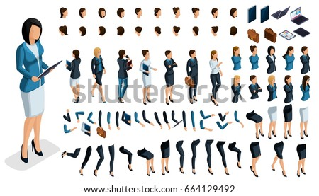 Large isometric Set of gestures of hands and feet of a woman 3d business lady. Create your own isometric character for an office worker for vector illustrations.