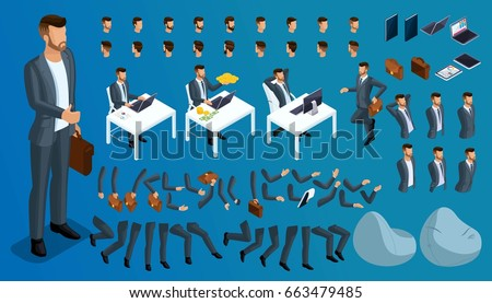 Large isometric Set of gestures of hands and feet of men, 3D character businessman. Create your own isometric person who walks around or sits for vector illustrations.