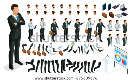 Large isometric Set of gestures of hands and feet of men, 3D character businessman. Create your own isometric office worker walks around or sits for vector illustrations.
