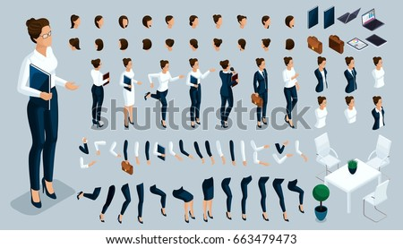 Large isometric Set of gestures of the hands and feet of a woman, to create a 3D business lady character strict suit. Create your isometric person for vector illustrations.