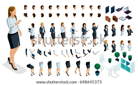 Large isometric Set of hand and foot gestures of a woman, to create a 3D business lady character. Create your isometric person for vector illustrations