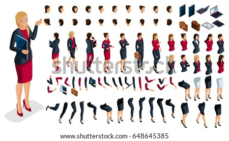 Large isometric Set of hand and foot gestures of a woman, to create a 3D business lady character. Create your isometric office worker for vector illustrations