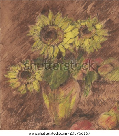 Large jug with flowers sunflowers and apples. Autumn still life.