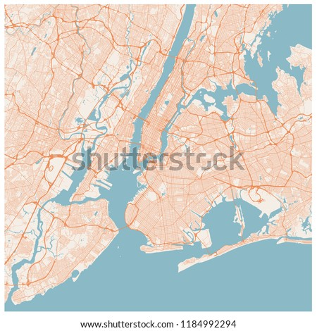 Large map of New York City (USA). NYC scheme of roads and streets. Transportation system of New York. Map of Big Apple. Transport network of Manhattan, The Bronx, Brooklyn, Queens and Staten Island.