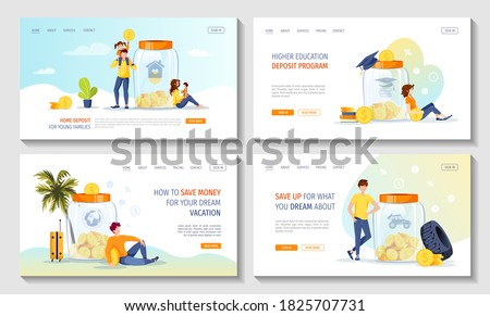 Large money jar banks with coins inside and people saving money for education, home, car, journey. Money saving or accumulating, Deposit concept. Set of web pages, banners. Vector illustration.