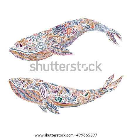 large multicolored whale on a