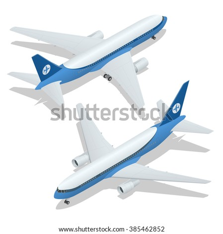 Large passenger Airplane 3d isometric illustration. Flat 3d isometric high quality transport. Vehicles designed to carry large numbers of passengers.  Vector.