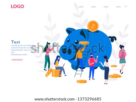 large piggy bank in the form of a piglet with customers around , bankers. Financial services, open a bank deposit, saving or accumulating money, coin box,
