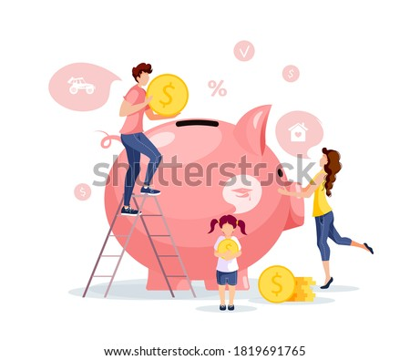 Large piggy bank. Piglet and coins with young family. Money saving or accumulating, Financial services, Deposit concept. Isolated vector illustration for banner, poster, advertising.
