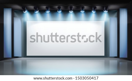 Large projection screen on stage. Art gallery. Free space for advertising. Vector illustration.