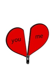 Large red 3D + heart divided into two halves that can be attached to each other with a zipper. Black text you me. We belong together. Valentine's Day.