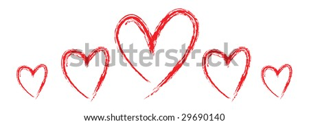 large red heart with smaller hearts to the side