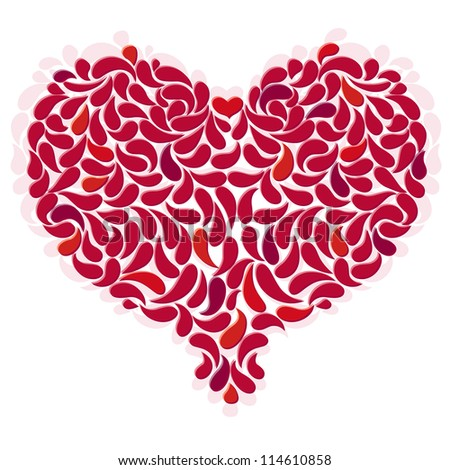 Large red romantic heart on white. (Vector EPS 10)