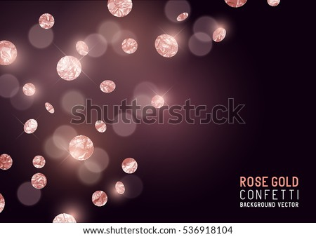 Large Rose Gold glitter Confetti party background. Vector illustration