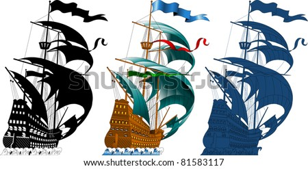 large sailing ship sailing on the waves (vector silhouette);