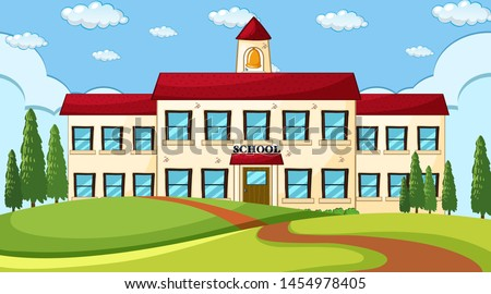 Large school building scene illustration