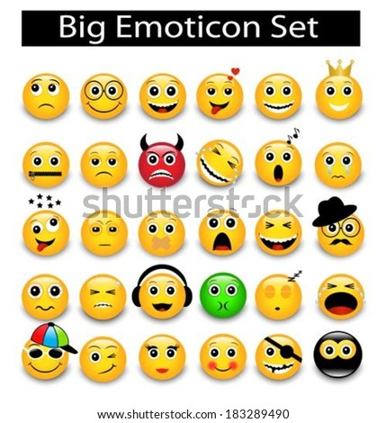 large Set a round yellow emoticons on a white background