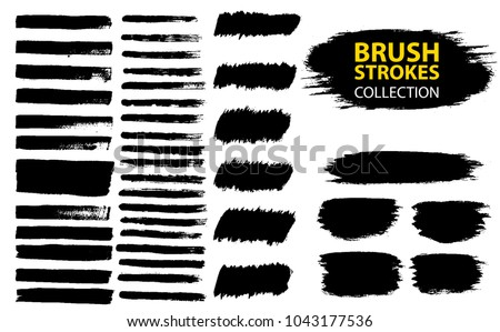Large set different grunge brush strokes. Dirty artistic design elements isolated on white background. Black ink vector brush strokes. Black isolated paintbrush collection. #1043177536