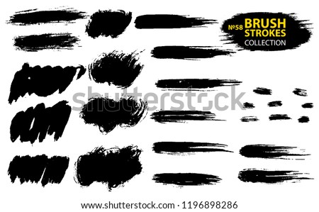 Large set different grunge brush strokes. Dirty artistic design elements isolated on white background. Black ink vector brush strokes. Black isolated paintbrush collection. Brush strokes isolated #1196898286