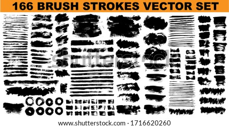 Large set different grunge brush strokes. Dirty artistic design elements isolated on white background. Black ink vector brush strokes stock photo