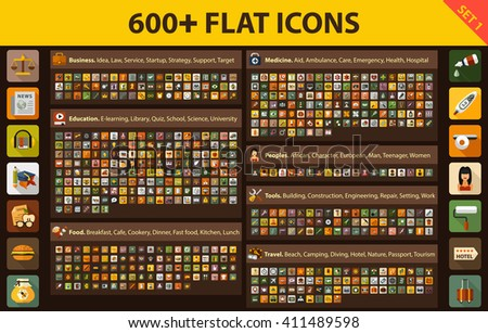 large set flat icons for web