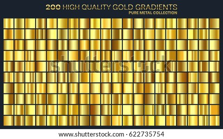 Large set.Gold,yellow gradient,metal texture,pattern.High quality gradients collection with 200 different colors.Shiny metallic background.Suitable for text ,mockup,banner, ribbon or ornament.