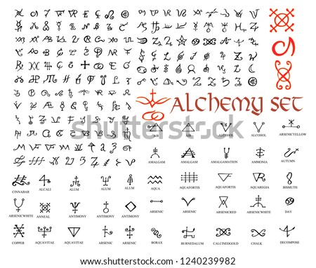 Large set of alchemical symbols isolated on white. Hand drawn elements for design. Mystical, esoteric, occult theme. Vector illustration.