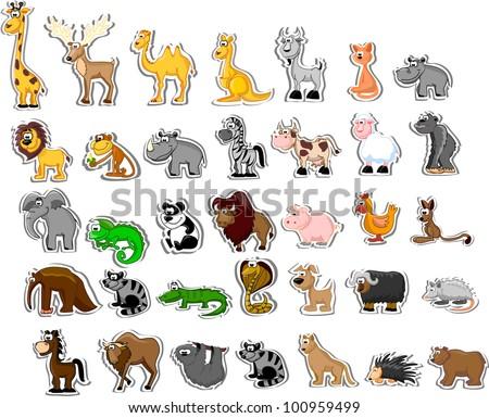 Large set of animals