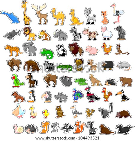 Large set of animals