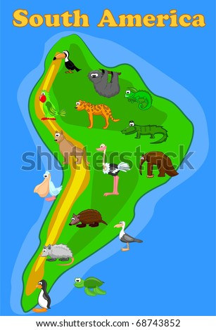 large set of animals of South America map eps10 vector