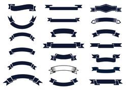 Large set of blank classic vintage ribbon banners for design elements, vector illustration