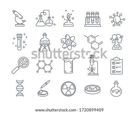Large set of Chemistry lab and diagrammatic icons showing assorted experiments, glassware and molecules isolated on white for design elements, black and white vector illustration