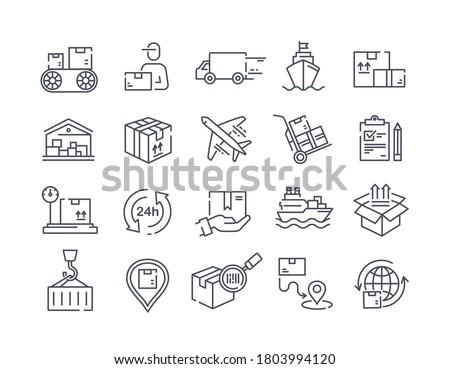 Large set of delivery icons for packages showing shipping, deliverymen, transport logistics and tracking, black and white vector illustration Stock foto ©